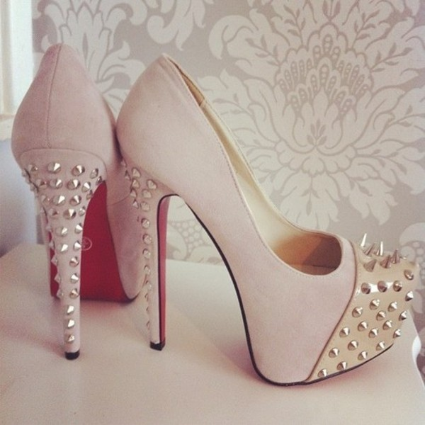 shoes high heels pink studs spikes high heela louboutin cute high heels light pink nude heels studded shoes nude high heels beige cute stud flawless silver adorbs