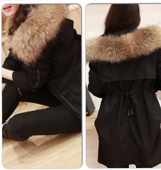coat black color fur trim parka