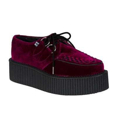 TUK Burgundy Velvet Mondo Creeper Shoes - TUK Shoes - SinisterSoles.com