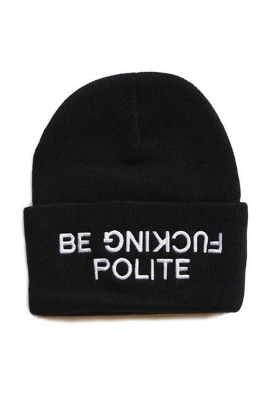 beanie black hat white writing white writing black and white black beanie writing on front hat be fucking polite black polite style fashion