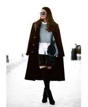 stylista,blogger,cropped sweater,alexander wang,plaid skirt,white shirt,knee high socks,long coat,black coat,winter coat,round sunglasses,winter outfits,coat,sweater,shirt,skirt,bag,shoes,sunglasses
