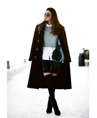 stylista blogger cropped sweater alexander wang plaid skirt white shirt knee high socks long coat black coat winter coat round sunglasses winter outfits coat sweater shirt skirt bag shoes sunglasses