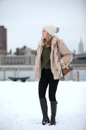 brooklyn blonde,blogger,pom pom beanie,knitted sweater,faux fur jacket,black boots,sweater,pants,hat,shoes,bag,beige fur jacket