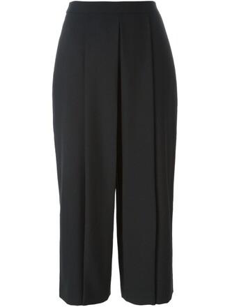 cropped women black wool pants