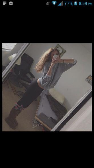shirt cute acacia brinley grey sweater shoes pants black
