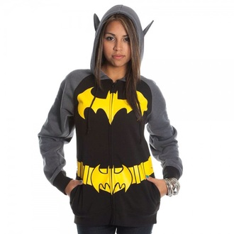 jacket hoodie batman black yellow grey