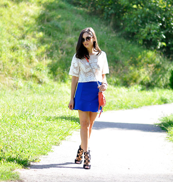 blogger shoes sunglasses top skirt bag petit and sweet couture