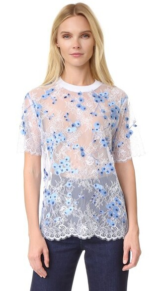 t-shirt shirt lace white blue top