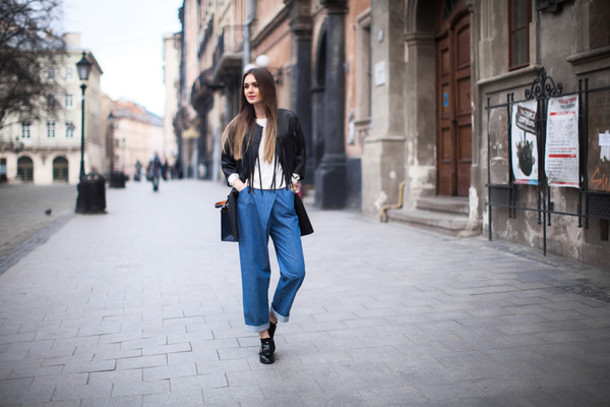 fashion agony blogger jeans wide-leg pants
