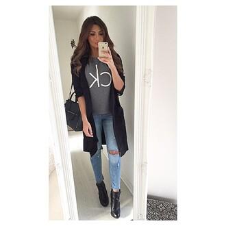shirt calvin klein ck grey ootd trench coat black bag purse hm jeans calvin klein coat