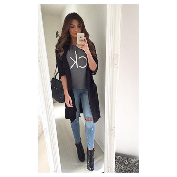 01b0e825951 shirt calvin klein calvin klein grey ootd trench coat black bag purse jeans calvin  klein coat