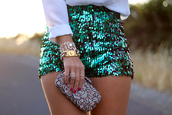 shorts,strass paillettes l,clutch,bag,green,green shorts,aquamarine,turquoise,High waisted shorts,Sequin shorts,sequins,blue shorts,green blue sequim,blue,cute,short,summer outfits,summer,outfit,sequin outfit,weheartit,tumblr,tumblr clothes,style,jewels,blouse