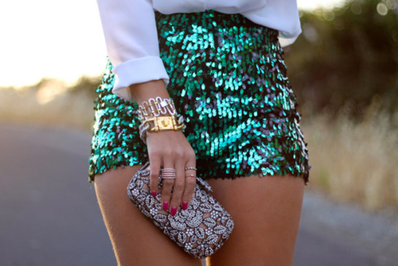 green shorts shorts sequin shorts strass paillettes l clutch bag high waisted short turquoise aquamarine
