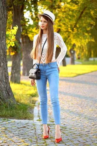 only my fashion style blogger shoes bag long sleeves lace top white lace top black bag mini bag skinny jeans white hat red heels shoulder bag