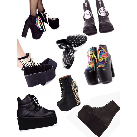 unif grunge creepers goth platform shoes punk high platforms dollskill alternative