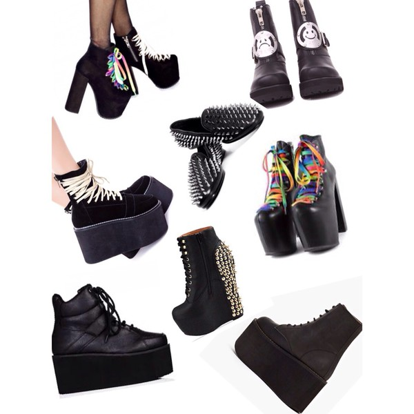 platform shoes grunge punk goth creepers high platforms dollskill unif alternative bag