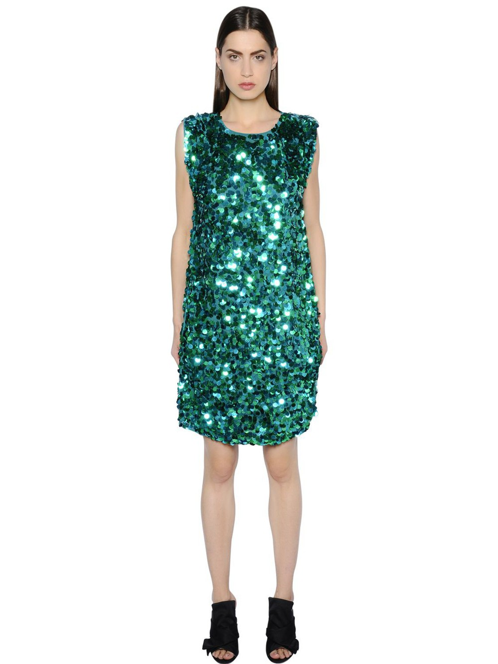GIANLUCA CAPANNOLO Sequined Crepe Dress in blue / green