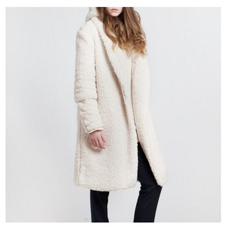 coat winter coat white knitwear girl fashion week 2015
