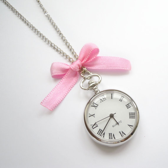 Romantic Pocket Watch Necklace with pink bow by JoliJoliJewelry
