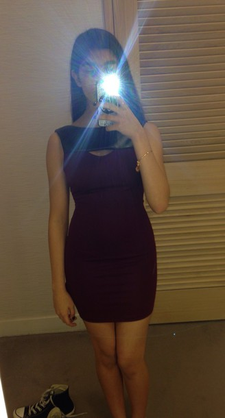 dress leather cutout burgundy dress flattering