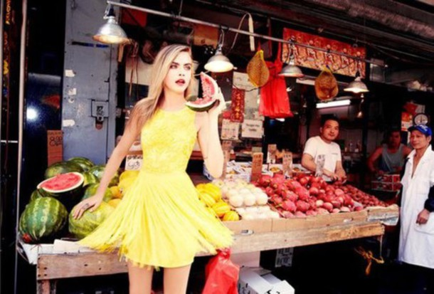 dress cara delevingne yellow dress yellow summer dress