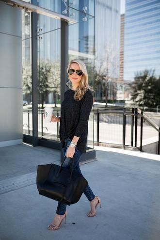 krystal schlegel blogger top jeans sunglasses shoes bag grey top handbag celine bag sandals high heel sandals spring outfits