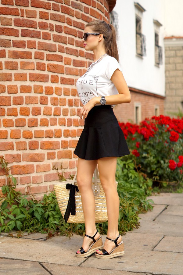 only my fashion style blogger t-shirt skirt jewels shoes bag