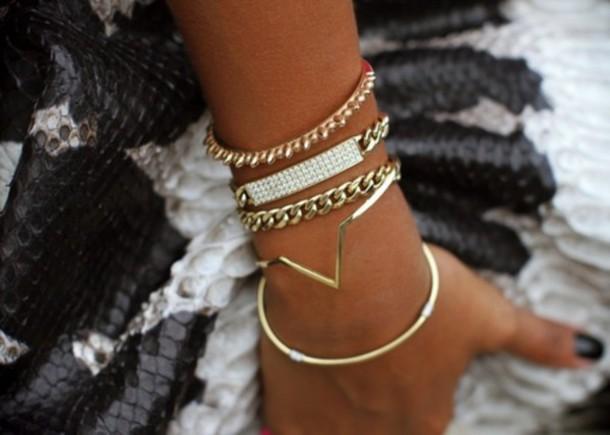 jewels diamonds chain gold shapes triangle bracelets