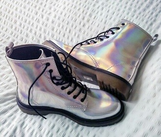 shoes boots rainbow iridescent flat boots combat boots metallic shoes holographic metallic pale pale grunge holographic boots holographic shoes drmartens grey