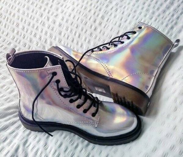 shoes boots rainbow iridescent flat boots combat boots metallic shoes holographic metallic holographic pale pale grunge holographic boots holographic shoes DrMartens grey