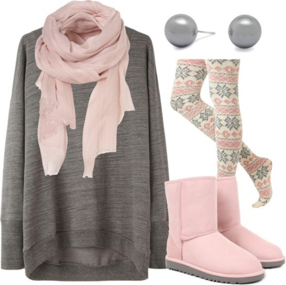 tribal pattern cold snowflakes sweater tights pink shoes pastel ugg boots oversized sweater celebrity colorswitch scarf pants jewels snowflake winter outfits white leggings gray grey cute pink tights christmas macys ugg boots earrings pink white gray silk cute pink scarf winter tights grey sweater pink uggs grey stud earrings