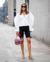 mules,sports shorts,white shirt,button up,chain necklace,bag,sunglasses