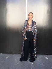 coat,top,pants,blouse,nicole richie,instagram