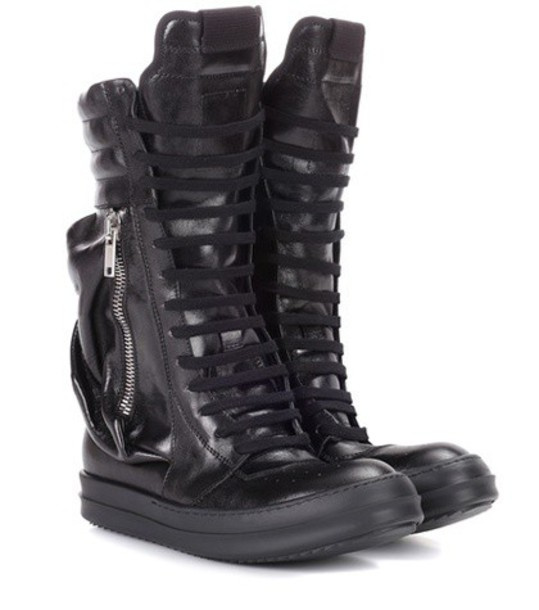 Rick Owens Leather combat boots in black