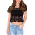 Charlie Crochet Crop Top - Black
