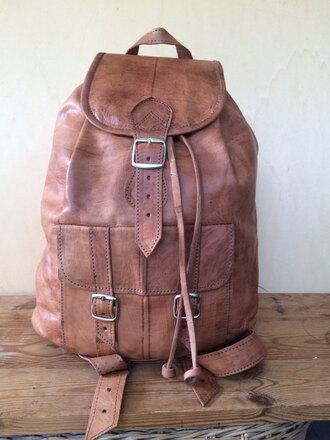 bag leather backpack hipster distressed leather aged leather tan leather backpack hipster backpack man bag hispter bag backpack rucksack made in italy boho rucksack
