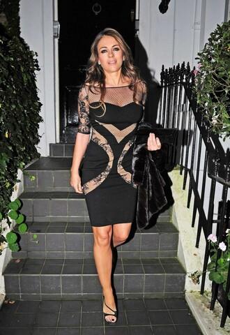 dress sheer black elizabeth hurley party dress