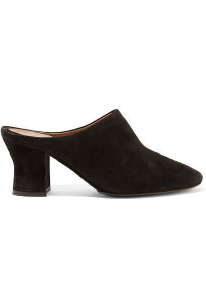 The Row - Adela Suede Mules - Black