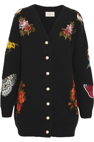 cardigan oversized embroidered wool black sweater