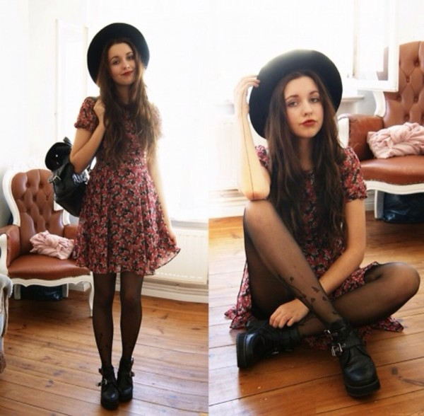 dress floral dress hat black