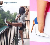 shoes,color block shoes,colorblock,angela simmons shoes,white pumps,Angela Simmons,multicolor heels