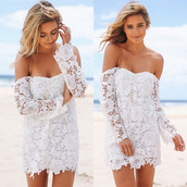 dress,mynystyle,lace dress,off the shoulder,fashion,style,girly,summer dress,girl,boho chic,trendy,sexy dress,stylish,beach dress