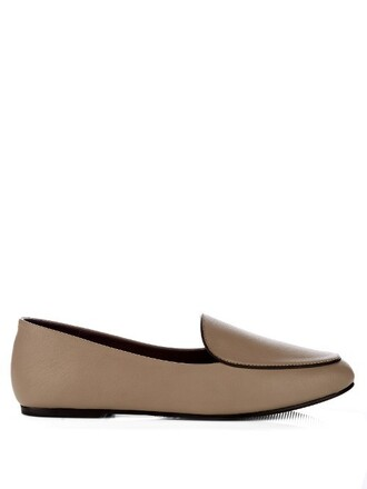 loafers leather beige shoes