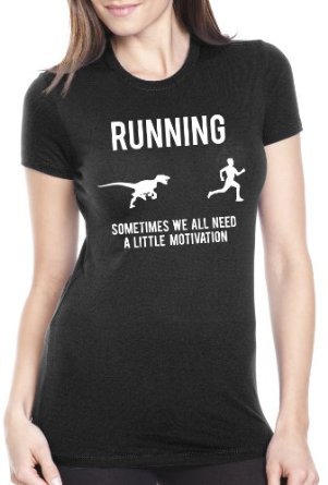 Women's Running Motivation Raptor Funny Dino T-Shirt to Motivate Runners: Amazon.co.uk: Clothing