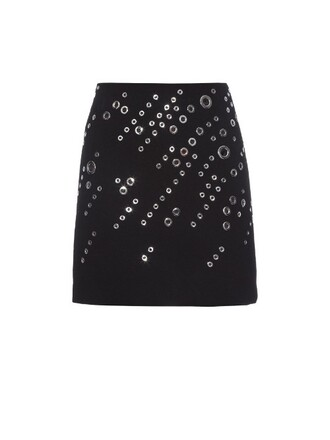 skirt mini skirt mini embellished wool black