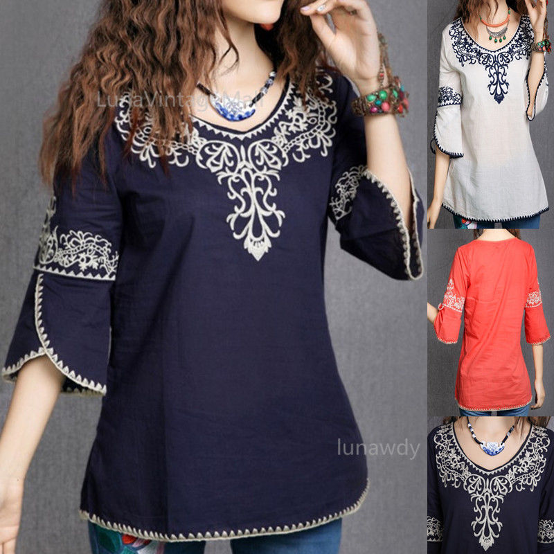Wonderful Women Ethnic Floral Embroidery Blouse Loose Casual V Neck Mexican