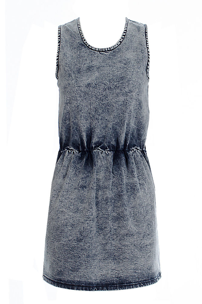 Sienna blue acid wash denim skater dress