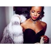 coat,rihanna,white fur coat,jewels