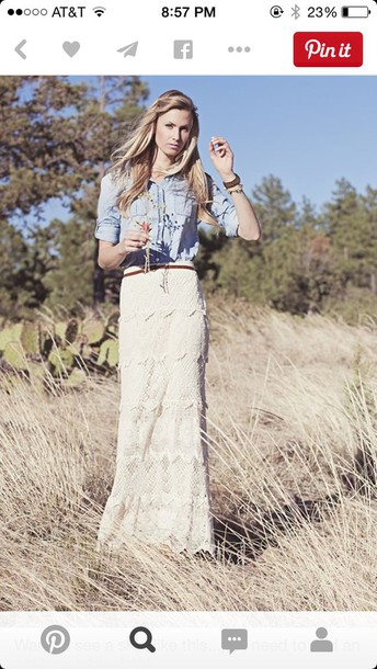 skirt ivory lace crochet maxi