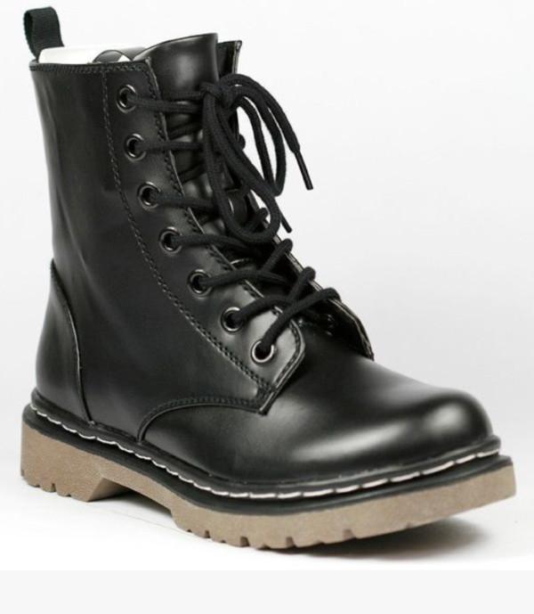 shoes black combat boots